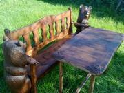 Продаётся скамья резная с медведями и стол(сосна, липа)